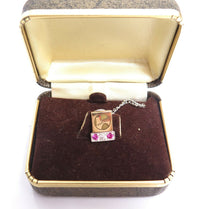 Vintage HOECHST Hoe Grass Service Award Pin 14K Solid Gold Ruby Diamond Tie Tack