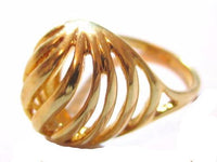 Styalized High Dome Open Metal Abstract Vintage Esposito Gold Plated Ring*A323 - Jewel Eureka