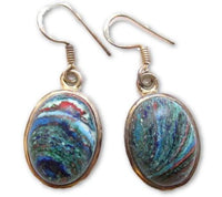 Blue Green Crazy Lace Agate Gemstone Sterling Silver Drop Dangle Earrings*E468 - Jewel Eureka