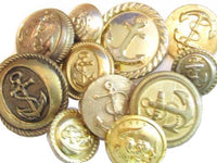 Vintage 11 Gold Toned Marine Style Anchor Gold Toned Metal Buttons Lot*S657 - Jewel Eureka