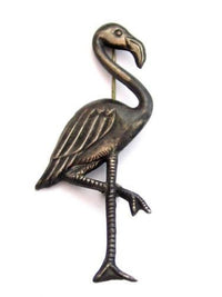 Vintage Repousse Metal Flamingo Bird Signed Sterling Silver Pin Brooch*925*D540 - Jewel Eureka
