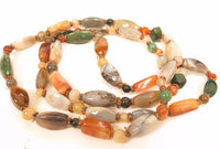"Vintage Beautiful Polished Agate Bead Multi Gemstone Necklace 48"" Long*178g*F96"