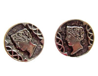 Silver Toned Small 12Mm Roman Head Figural Vintage Lot Of 2 Metal Buttons*S610 - Jewel Eureka