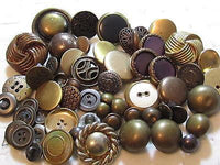 Great Mixed Lot 58 Vintage Gold Toned Brass Plastic Lucite Metal Buttons*S649 - Jewel Eureka