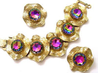 Heliotrope Watermelon Huge Rhinestone Vintage Judy Lee Bracelet Earring Set*568D - Jewel Eureka
