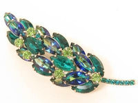 Juliana Style Magnificent Green Givre Rhinestone Leaf Floral Vintage Pin*F195