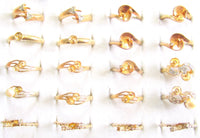 20pc New Old Stock 14k G.E. ESPO Pearl, Gemstone, Rhinestone Vintage Gold Plated Mixed Ring SETTINGS Jewerly Lot*Easy Repair*A283 - Jewel Eureka