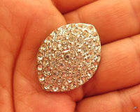 "Vintage Art Deco Clear Rhinestone Large 1-1/8"" Navette Shaped Silver Button*A649"