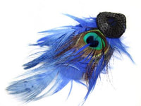 Beautiful Vintage Art Deco Style Peacock & Blue Feathers Black Sequin Hair Clip - Jewel Eureka