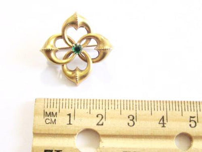 Estate Antique Victorian 10K Solid Gold Emerald Love Knot Pin Brooch*1.9G*D113 - Jewel Eureka