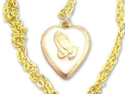 Praying Hands Cream Enamel Gold Plated Heart Pendant Vintage Chain Necklace - Jewel Eureka