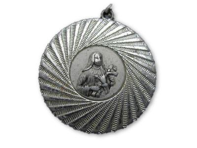 West Germany Vintage Silver Toned Religious Figure Necklace Pendant - Jewel Eureka