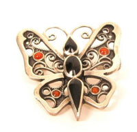 Antique Sterling Silver Butterfly Brooch Orange Black Trombone Catch Pin*X132