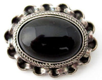 Black Onyx Glass Bezel Set Oval Rolo Chain Sterling Silver Pin*20.3G*925*857D - Jewel Eureka
