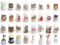 VINTAGE SEWING THIMBLE LOT*PORCELAIN*MOTHER SEW*JAPAN*GIMBEL & SONS ENGLAND A819