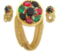 Massive Vintage Runway Red,Green Rhinestone Gold Plated Pendant & Earrings*E254 - Jewel Eureka