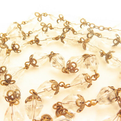 Vintage Bicone Teardrop Clear Crystal Filigree Catholic Rosary Bead Necklace*L35