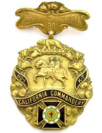 1904 Antique Knights Templar No 1 Kt California Commandery Shreve & Co Pin*D603 - Jewel Eureka