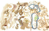 1lb8oz Jewelry Lot*Abalone Fringe Pin*Large Metal Bib*Rhinestone Dangles*A624