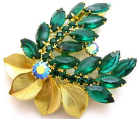 Juliana Vintage Designer Green Rhinestone Crystal Gold Tn Flower Brooch Pin*A447 - Jewel Eureka