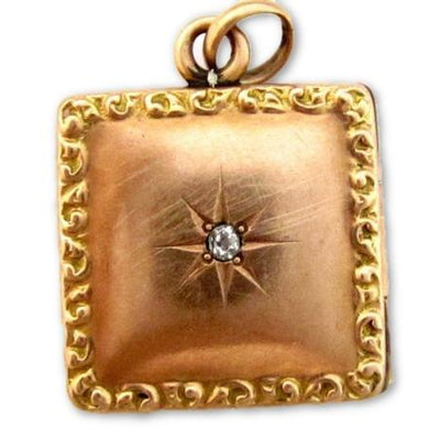 Antique Victorian Square 10K Solid Gold Diamond Photo Locket Pendant Charm*E264 - Jewel Eureka