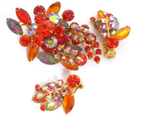 Rare Vintage Orange AB & Art Glass Rhinestone Floral Brooch Earring Demi Set