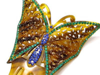 Huge Rhinestone Butterfly Old Vintage Art Deco Celluloid Hair Barrette Comb*E360 - Jewel Eureka