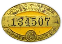 1926 New York Licensed Chauffeur #134507 Badge Vintage Enamel Pin*D598 - Jewel Eureka