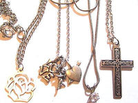 Vintage Silver Plated Tone Chain Pendant Necklace Jewelry Lot*Rose*Cz*Cross*A229 - Jewel Eureka