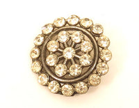 Sparkly Clear Rhinestone 28mm Vintage Rhinestone Button*Silver Toned Metal*E916