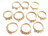 14k GE Espo Vintage Gold Plated Stunning CHARM Ring SETTINGS Jewerly Lot*Easy to Design/Create*Wholesale Old Stock*A281 - Jewel Eureka