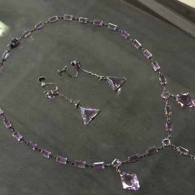 Rare Vintage Art Deco 935 Silver Amethyst Necklace & Earring Set*Germany Signed - Jewel Eureka