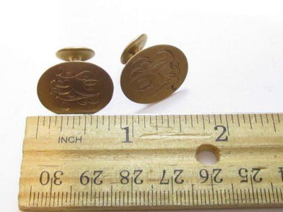 Antique Monogram Fef Initials 10K Solid Yellow Gold Cufflinks*Men'S Jewelry*E269 - Jewel Eureka