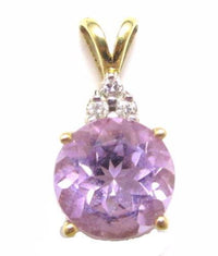 2.75Ct Amethyst Gemstone & Diamond Vintage 14K Solid Gold Necklace Pendant*E265 - Jewel Eureka