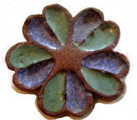 Vintage Blue Green Flower Ceramic Pottery Artisan Signed Ooak Brooch Pin*A188 - Jewel Eureka