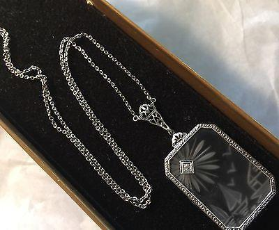 Vintage Art Deco 14K White Gold Filigree Diamond Lalique Image Lavalier Necklace - Jewel Eureka