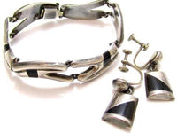 Rare Mexican Vintage Art Deco Black Enamel Sterling Silver Bracelet Earrings*925 Mexico*E394 - Jewel Eureka