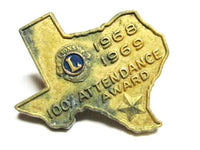 1968-69 100% Attendance Award Lion'S Club Tie Tack Pin Vintage Organization G196 - Jewel Eureka