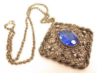 Stunning Filigree Silver Plated Blue Rhinestone Vintage Pendant Necklace*F351