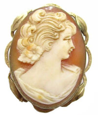 Old Vintage Gold Plated Carved Shell Cameo Lady Convertible Pin Pendant*E367 - Jewel Eureka