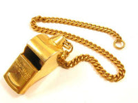 "Signed Japan Vintage Large Solid Brass Whistle With Chain Attachment*12.5""*Y912 - Jewel Eureka"