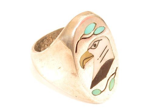 Native American Eagle Head Vintage Sterling Silver Inlaid Mother of Pearl 925 Ring*Size 10.5*E736 - Jewel Eureka