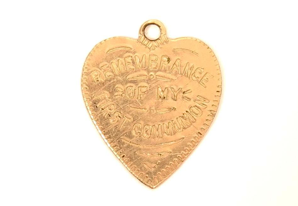 Remembrance of My First Communion Heart Antique Yellow Gold Filled Pendant Charm*E694 - Jewel Eureka