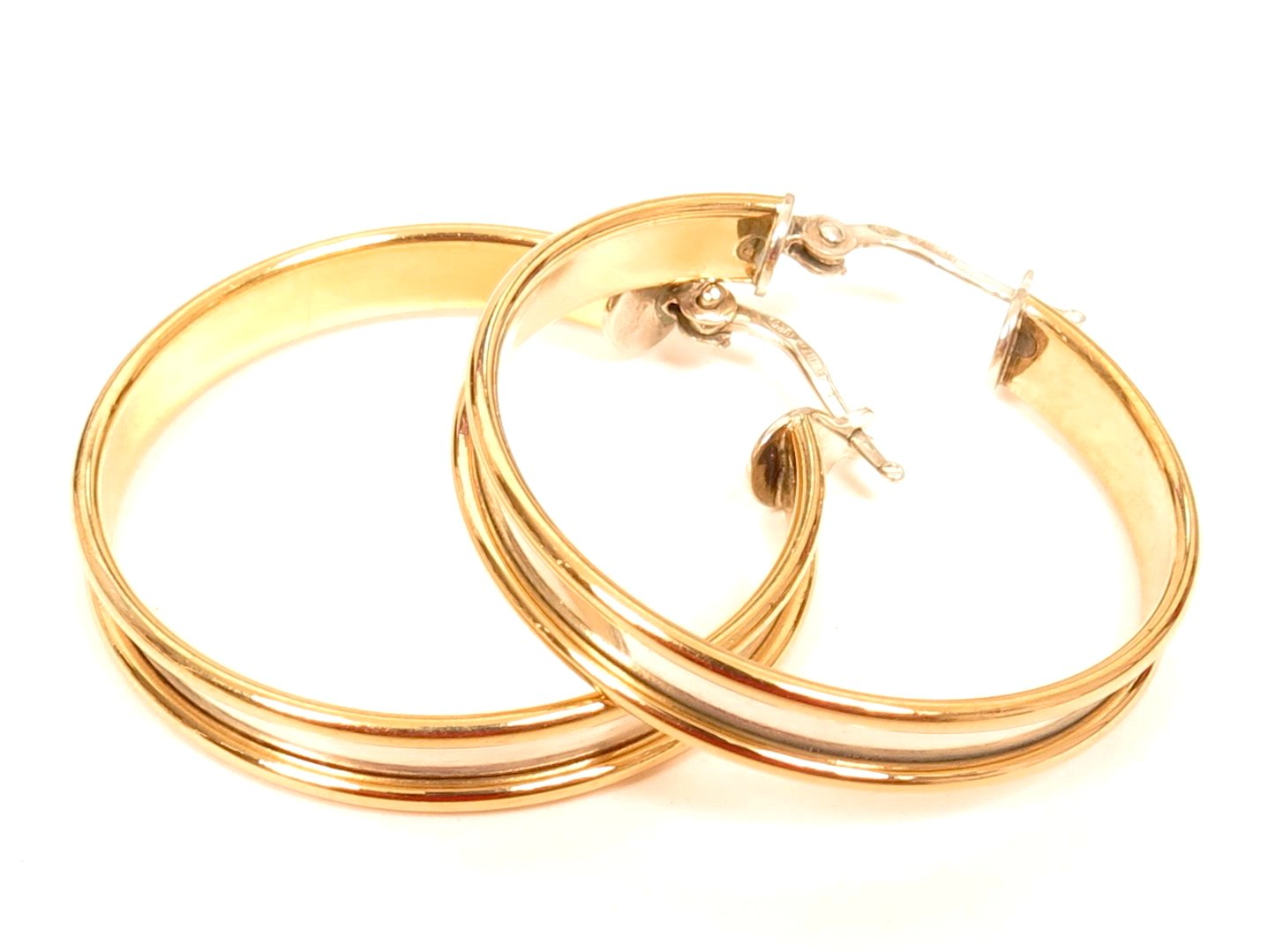18K Solid Yellow Gold 925 Sterling Silver Large Italy Hoop  Earrings*5 8G*E514