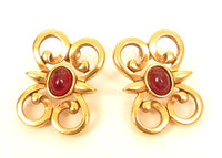 S.A.L Swarovski Signed Red Cabochon Vintage Large Gold Plated Earrings*F15
