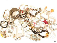1lb11oz Modern Jewelry Lot*Heavy Silver Collar Necklace*Hoops*Watch*Glass*A617