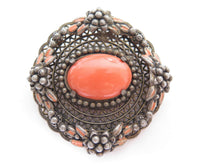 Vintage Czech Art Deco Nouveau Faux Coral Glass Floral Silver Plated Brooch Pin
