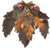 Artisan Made Autumn Leaves Large Ornate Brass Copper Tone Floral Brooch Pin*536D - Jewel Eureka