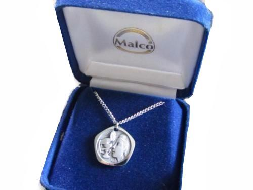 Vintage Silver Tn Malco Made In France Religious Bread Wine Pendant Necklace*D47 - Jewel Eureka