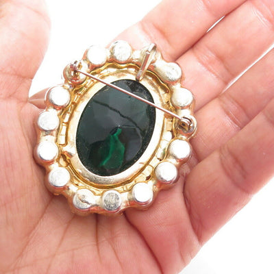 VINTAGE CONFIRMED D&E JULIANA HUGE AB GREEN RHINESTONE PENDANT & BROOCH A843